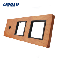Free Shipping Livolo Cherry Wood Panel 223mm 80mm EU Standard 1Gang 2 Frame Wood Panel VL