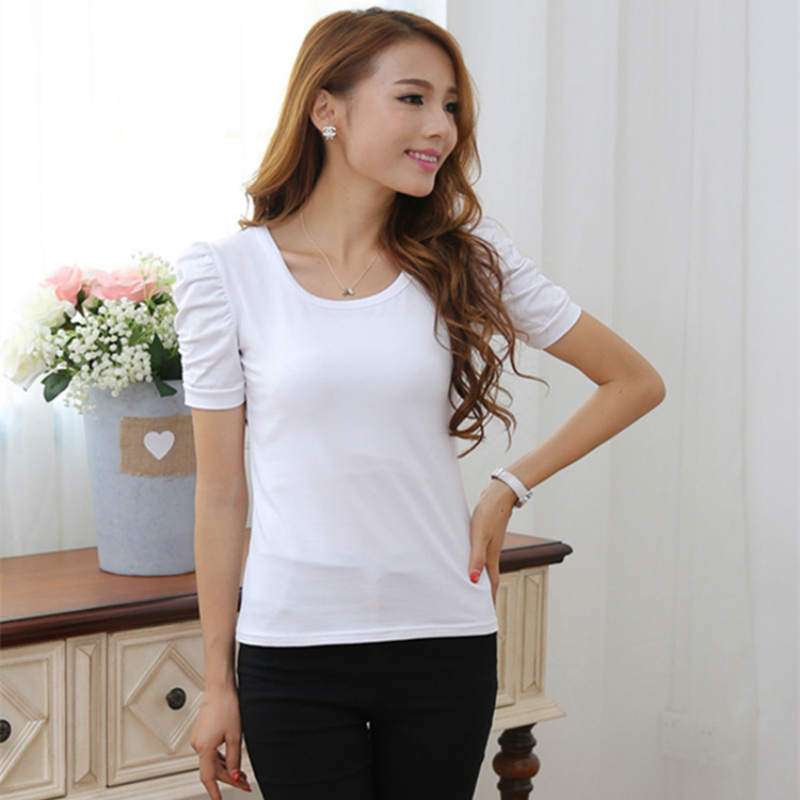 2019 New summer large size women's short-sleeved T-shirt female bubble sleeves Shrugging  cotton compassion Slim bottoming