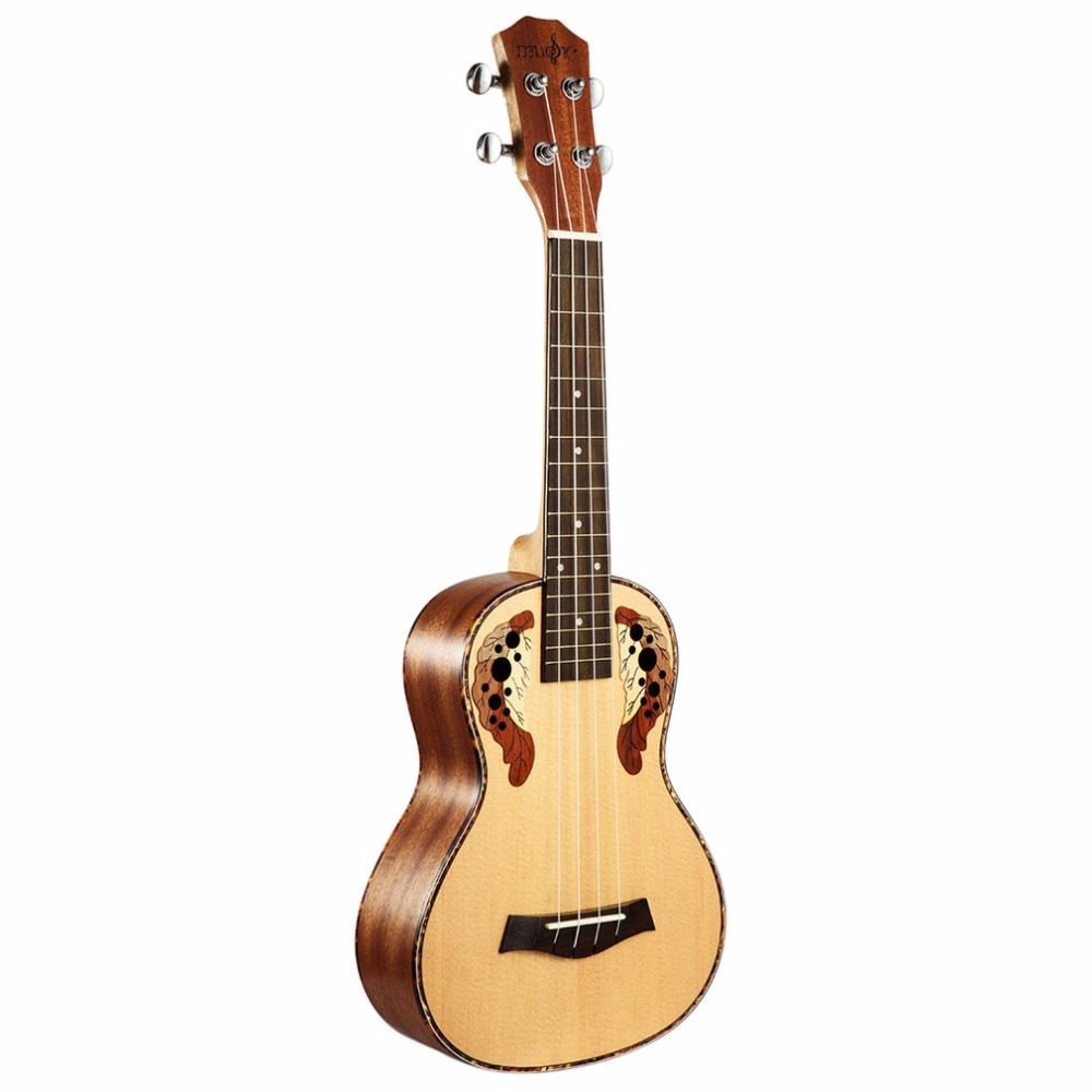 23 Inch Carved Pattern Spruce Tree Peach Flower Core Acoustic Guitar Grape Hole Four Strings Guitar 17 Frets Small Ukulele New two way regulating lever acoustic classical electric guitar neck truss rod adjustment core guitar parts