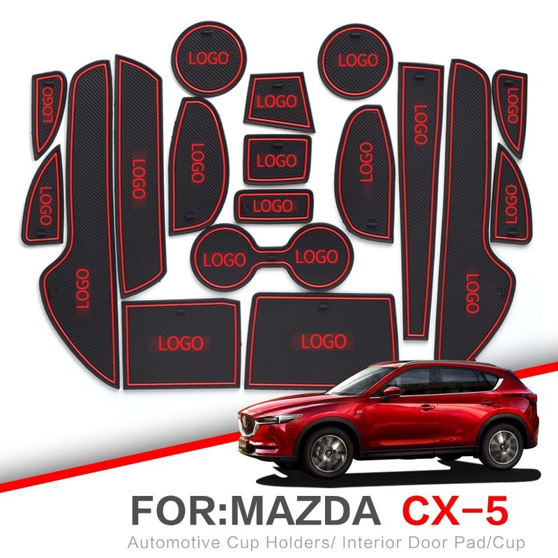 ZUNDUO Gate slot pad  For Mazda CX 5 2013   2019 CX5 CX 5 Interior Door Pad Car Cup Holders Non slip mats RED WHITE|  - title=