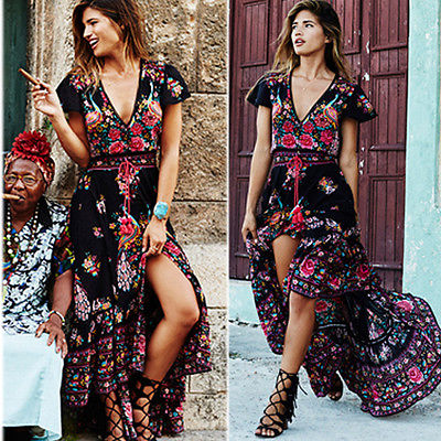 US $12.65 |2018 new Women Summer Chiffon Drawsting Dress Long Summer Retro  Floral Boho Maxi Long Dress Plus Size-in Dresses from Women\'s Clothing on  ...
