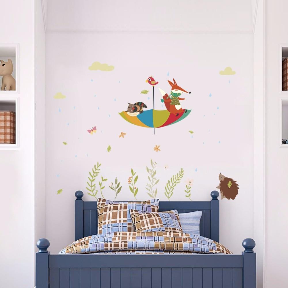 2018 New Arrival Cartoon Fox Bird Umbrella Wall Stickers