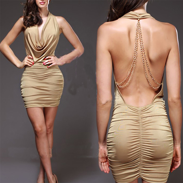 Stretchy Open Back Ruched Mini Dress