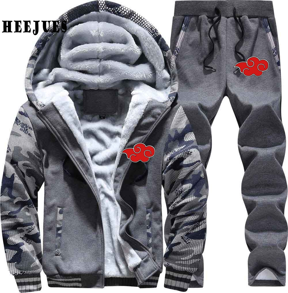 Naruto Akatsuki Red Cloud Men Sweatshirts Spring Autumn New Hoodies Men Jacekt Pants Tra ...