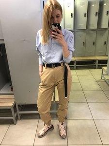 Image 5 - 2019 Moda Kadın Ordu Yeşil Pantolon Yüksek Bel Pantolon Joggers Kadınlar Kargo Pantolon Kadın Ayak Bileği Uzunluğu Pantolon Kadın Pantolon