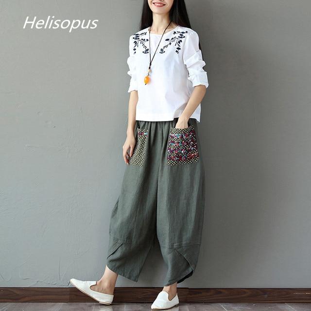 39359b13860 Helisopus 2019 Women Autumn New Folk Style Cotton Linen Wide Leg Pants  Loose Ladies Harem Trousers Casual Plus Size Pants