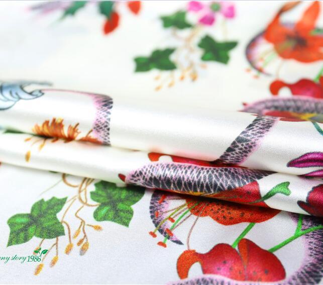 ᗐSeda segmento elástico estiramiento pesado seda serpiente patrón ...