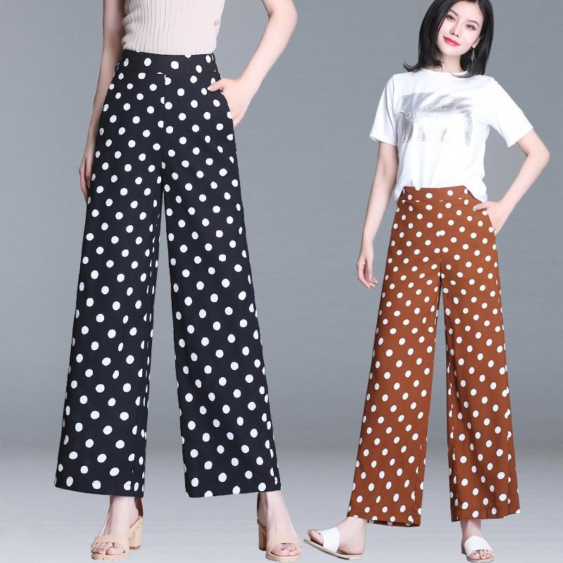 Fashion women's Chiffon   Wide     Leg     Pants   Women Solid Loose High Waist   Pants   Feminine Summer Casual Straight   Pants   Trousers