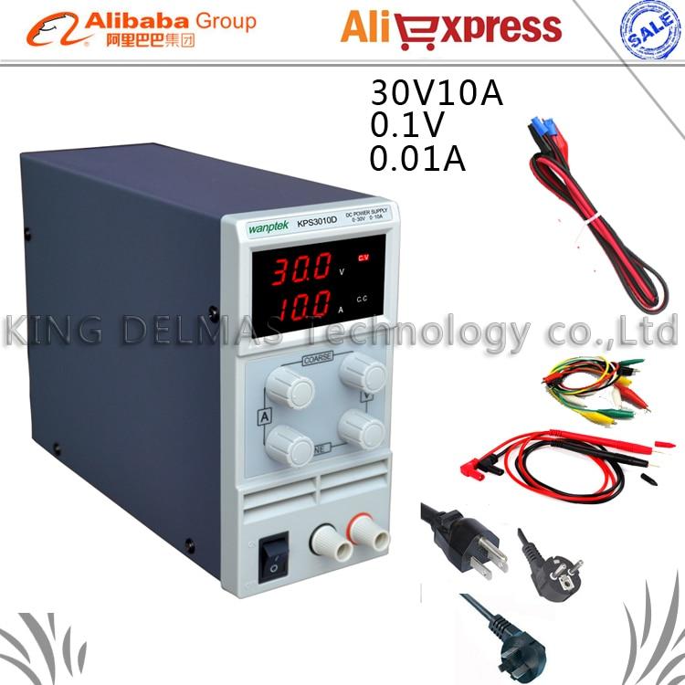 Mini Adjustable Digital DC power supply ,0~30V 0~10A ,110V-220V Switching Power supply 0.1V/0.01A FOr US/EU/AU Plug wholesale lw 3010d regulated adjustable dc power supply single phase 30v10a us eu au plug