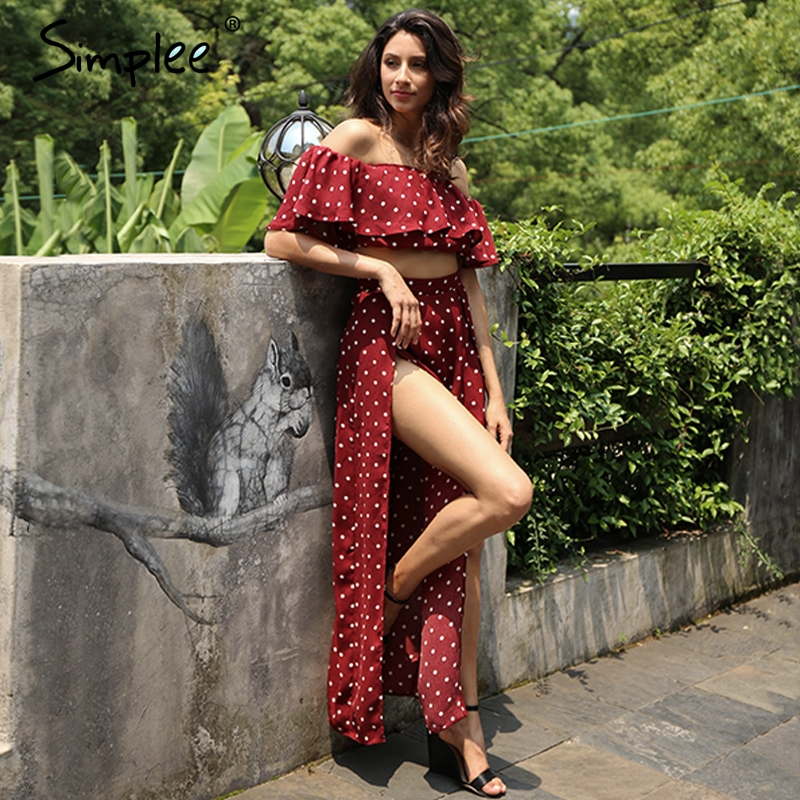 Simplee hombro dos piezas polka dot dress mujeres side se separó de vino rojo la