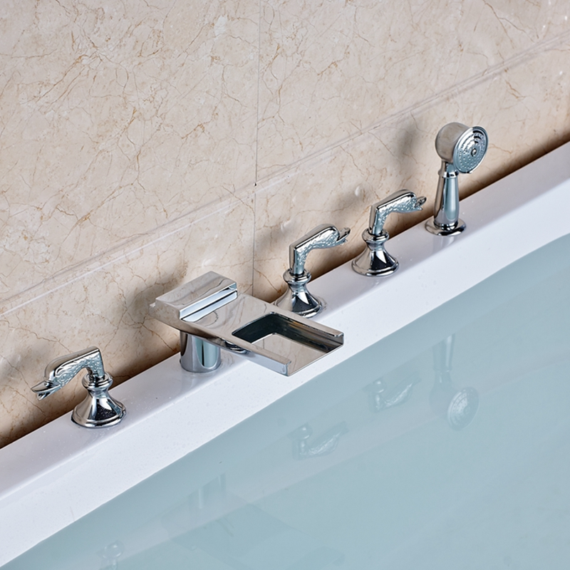 Waterfall Long Spout Widespread Bathroom Tub Faucet W/ Hand Shower Mixer Tap NEW