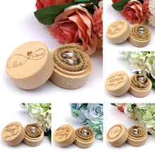 Wooden Ring Box Personalized Rustic Wedding Ring Box with Delicate Pattern Letters for Ring Earrings Necklace Jewelry Gifts