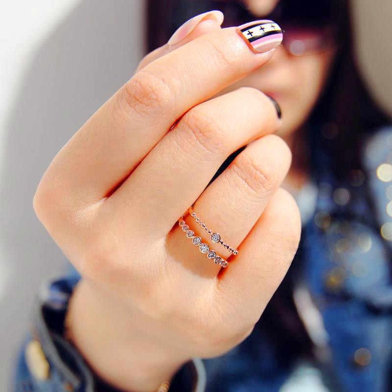 Boho หญิง Simp คริสตัลเปิดแหวน Zircon หินน่ารักขนาดเล็ก Silver Rose Gold สีแหวนสัญญาหมั้นแหวนผู้หญิง