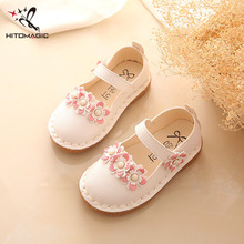 HITOMAGIC/Обувь для девочек; детские туфли принцессы для девочек; Свадебная кожаная обувь; мокасины; повседневная обувь для маленьких девочек; Розовая обувь с цветочным узором