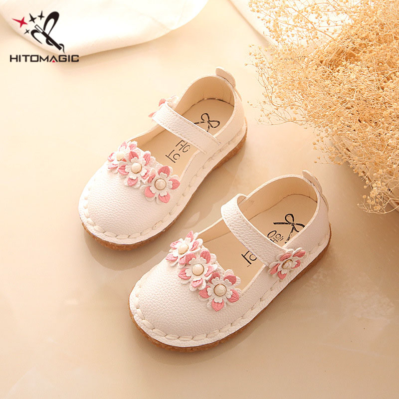 HITOMAGIC Girls Shoes Princess Kids Shoes For Girls Wedding Leather Shoe Moccasins Casual Shoe Baby Girl Flower Pink Footwear