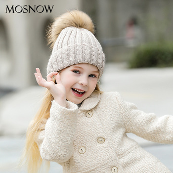 Lady Solid Color Wool Hat Joker Children's Woolen Knitted Warm Hat Winter New Outdoor Pullover Pompom Cashmere Hat  B-9379