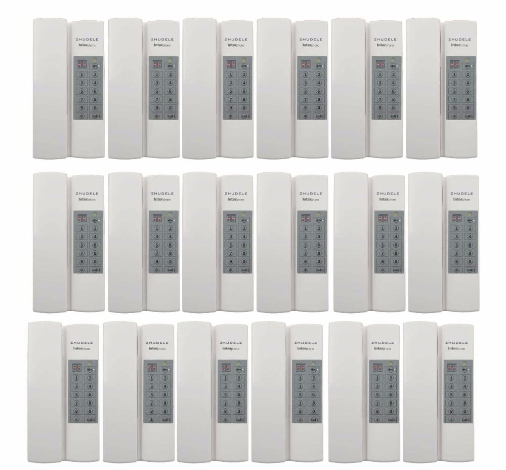 ZHUDELE Home security Interphone 18-way safe audio door phone/intercom system w/t Group/Broadcast calling function+power supply