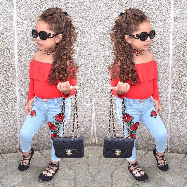 1ea6878196829 Ladystreet Children's Suit Girl Long-Sleeved Red Jacket Off Shoulder Tops +  Rose Flower Jeans Denim Pants Two-Pieces Sets