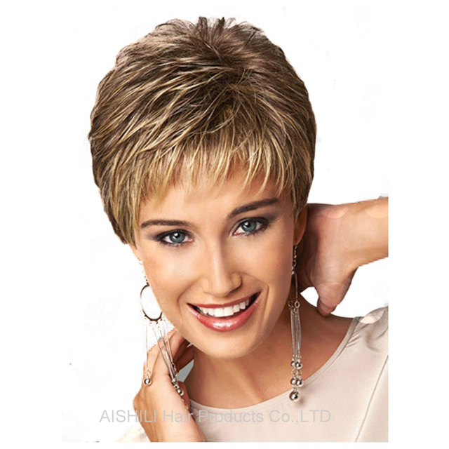 Womens synthetic short wigs pixie cut hairstyle Natural straight hair wigs Blonde wig mix brown hair fashion full wigs peruca