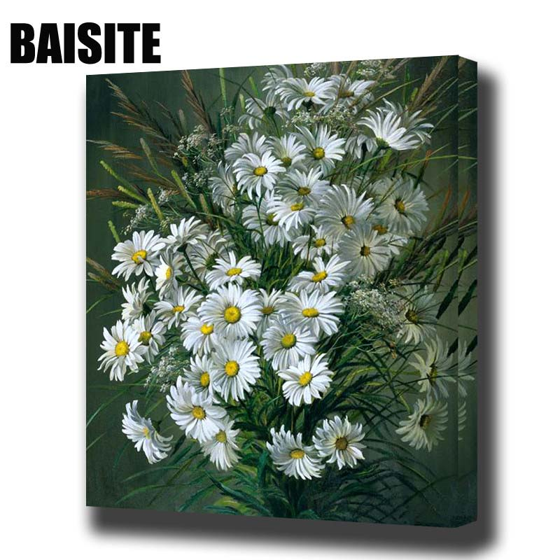 Baisite diy framed oil painting by by numbers for Diy flower canvas wall art