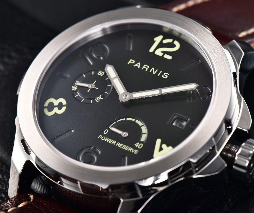 2018 New Automatic Watch Men Parnis Top Brand Luxuury Silver Menchanical Watches 44mm Leather Luminous Date Date PVD Sapphire