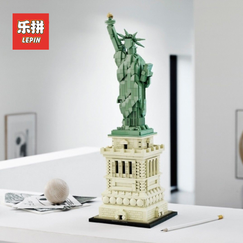 Lepin 17011 American Architecture Model Statue of Liberty Set compatible Legoinglys Creators 21042 Building Blocks Bricks Toys цены