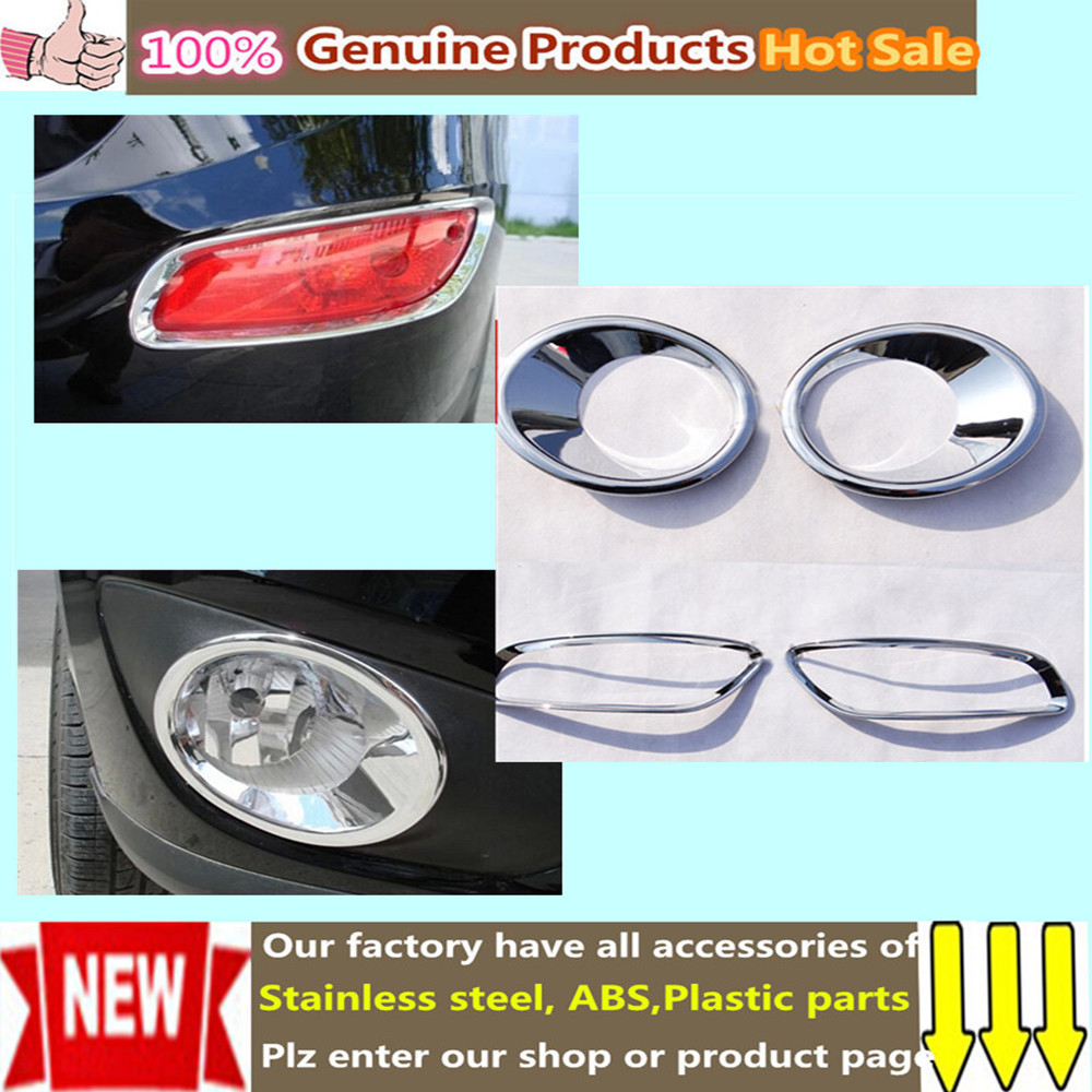 Free shipping 4pcs abs chrome styling accessory trim tail rear front light and car fog lamp covers for hyundai santafe 2010 2012