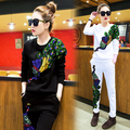 new women's spring clothing female casual suit peacock cashmere trousers with sequins women's tracksuits 2 piece sets female