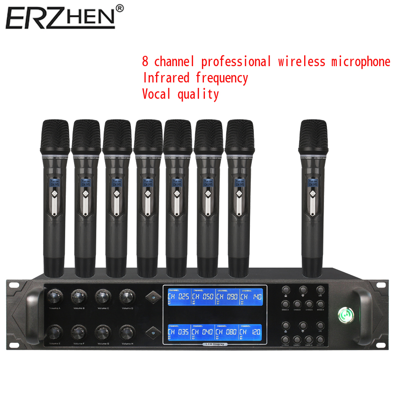 9000gta 8 wireless microphone system 8 channel dynamic studio microphone wireless karaoke party. Black Bedroom Furniture Sets. Home Design Ideas
