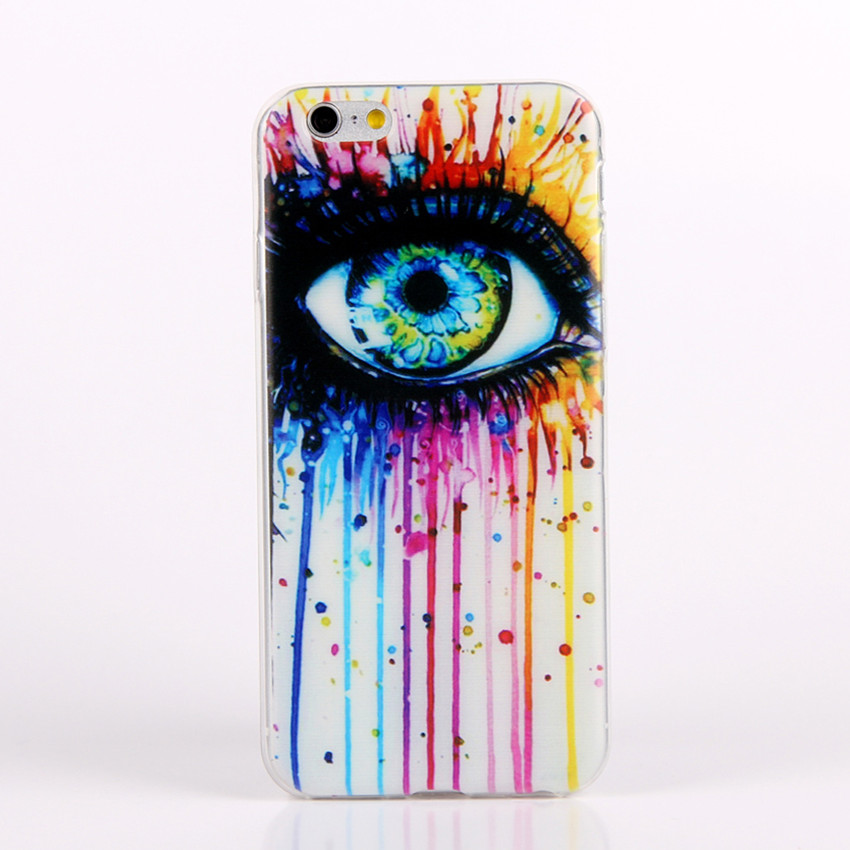Special Eye Design Silicon Soft TPU Cover Cases For Apple iPhone 6 6S Rainbow White Case For iPhone 6 4.7″ Silicone Case