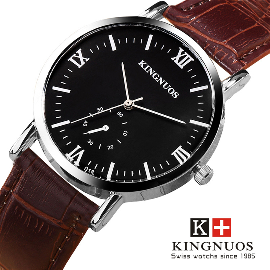 KINGNUOS Quartz Wrist watch men watches fashion simulation Small dial 30m waterproof clock band leather male Wristwatch Relogio paidu fashion men wrist watch casual round dial analog quartz watch roman number faux leatherl band trendy business clock