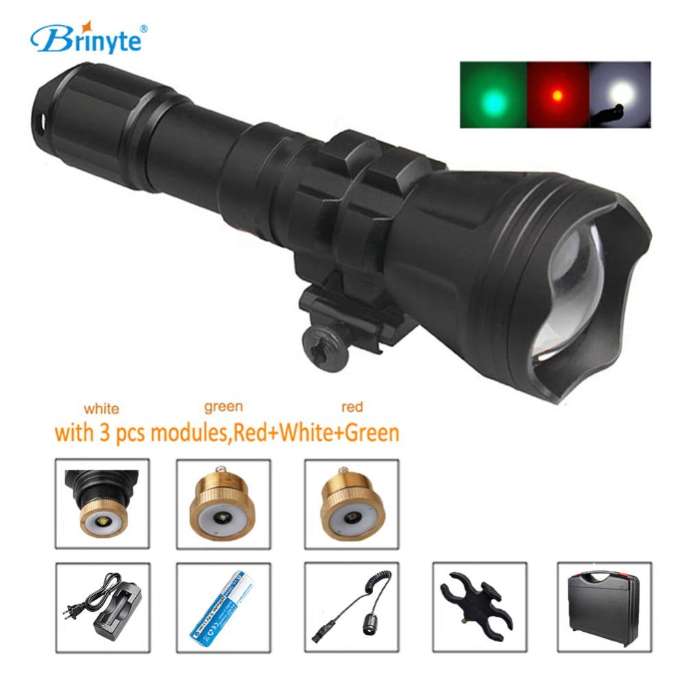B158 Potable Cree XM-L2 U4 Waterproof LED Hunting Flashlight with RED GREEN WHITE Module Gun Mount Remote Switch ABS Tool Case fossil часы fossil es4196 коллекция idealist