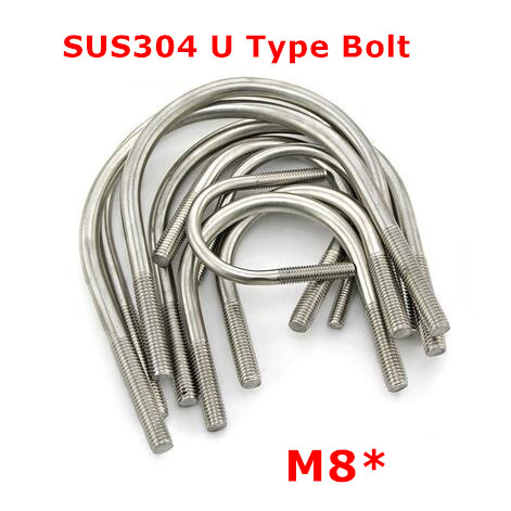 6pcs <font><b>M8</b></font> 304 Stainless steel U <font><b>Bolt</b></font> 8mm U Type Pipe Clamp Stirrup Screw image