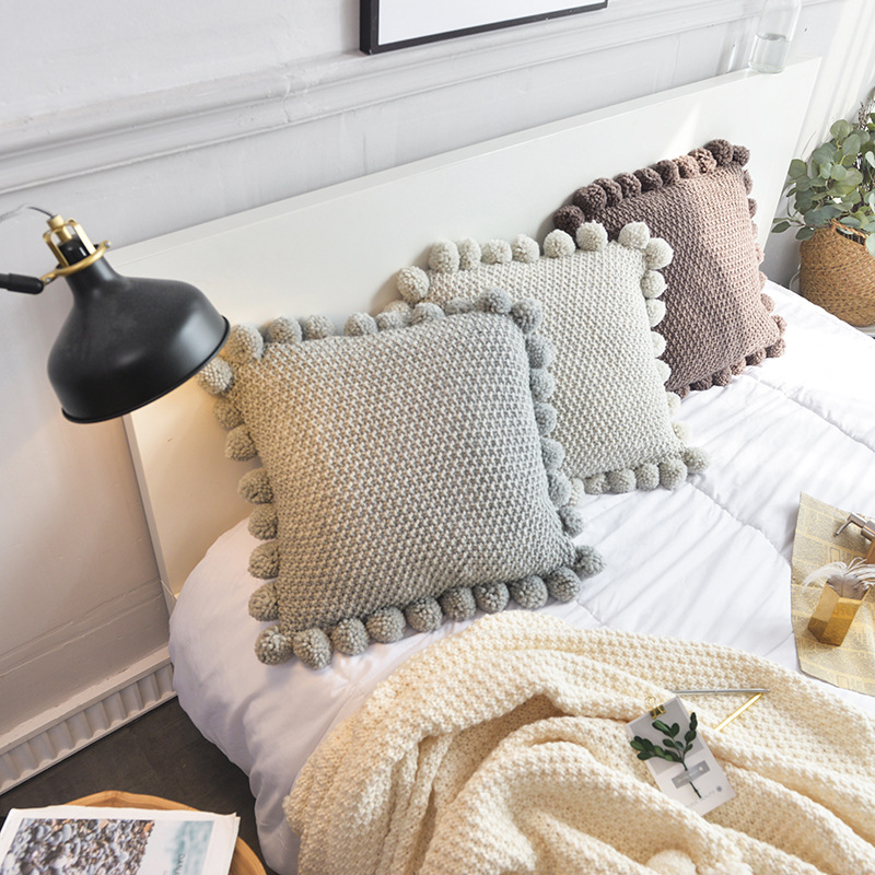 Solid Color Cotton Blending Pompoms Cushion Cover Fashion Home Decoration Accssory Pillow Covers Sofa Bed Knitted Cushion Cases