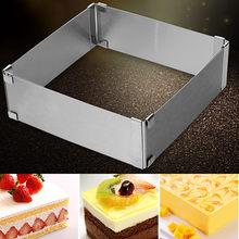 Bolo quadrado ajustável moldes de aço inoxidável moldes de cozimento cozinha sobremesa bolo ferramenta de decoração ajustável até cerca de 18x18x5cm
