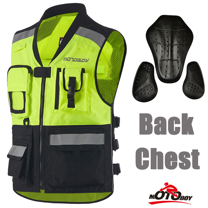 MOTOBOY Best Motorcycle Reflective Safety Vest Reflective Breathable Jacket Motocicleta Warning Vest with Protective Pads Riding