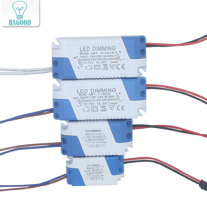 3 24W Dimmable Safe Plastic Shell LED Driver AC90 265V DC3 85V Light Transformer 300mA Power