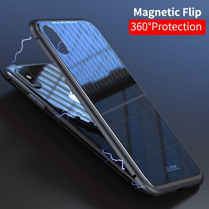 Adsorção magnética Para o iphone X 7 8 Plus Plus 6 s Mais de Corpo Inteiro Slim Fit Caso Ultra-Fino leve Luxo Metal Bumpers