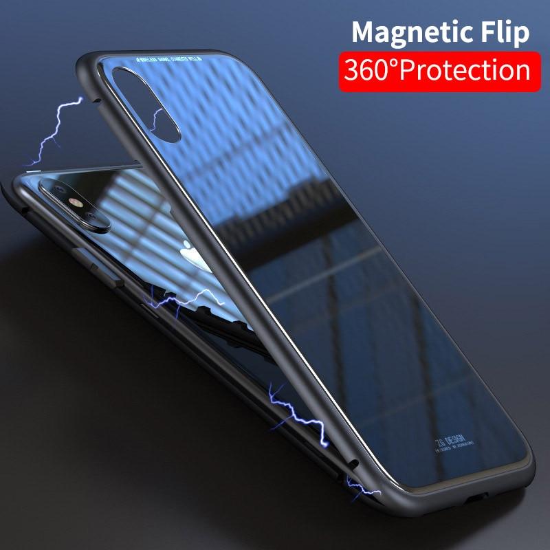 Magnétique Adsorption Pour iPhone X 8 Plus 7 Plus 6 s Plus Complet Du Corps Slim Fit Ultra-Mince Cas léger De Luxe En Métal Pare-chocs
