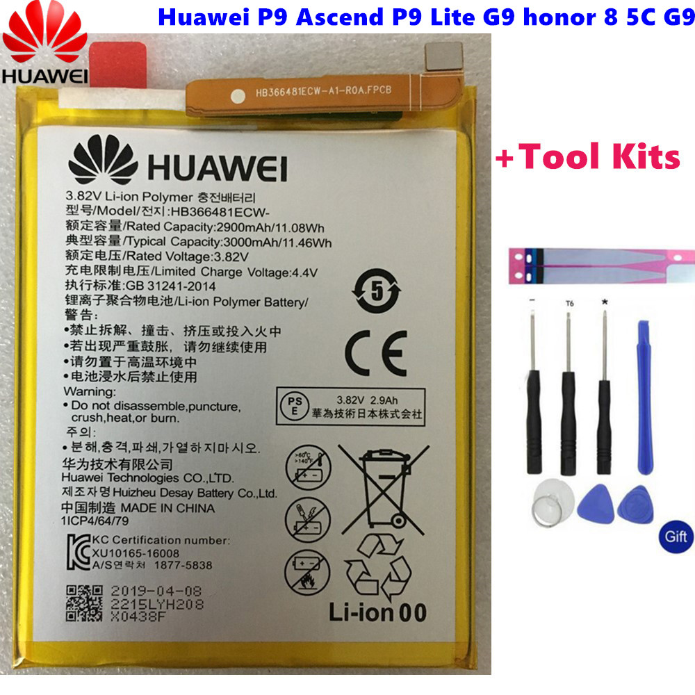 Hua Wei Original Real 3000mAh HB366481ECW For Huawei P9/p9 Lite/honor 8/p10 Lite/y6 II/p8 Lite 2017/p20 Lite/p9lite Battery+Tool(China)