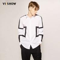 VIISHOW Shirt Men Long Sleeve Slim Fit Mens Dress Shirts Geometric Men Symmetrical Shirts Casual White