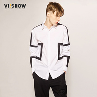 VIISHOW Shirt Men Long Sleeve Slim Fit Mens Dress Shirts Geometric Men Symmetrical Shirts Casual White