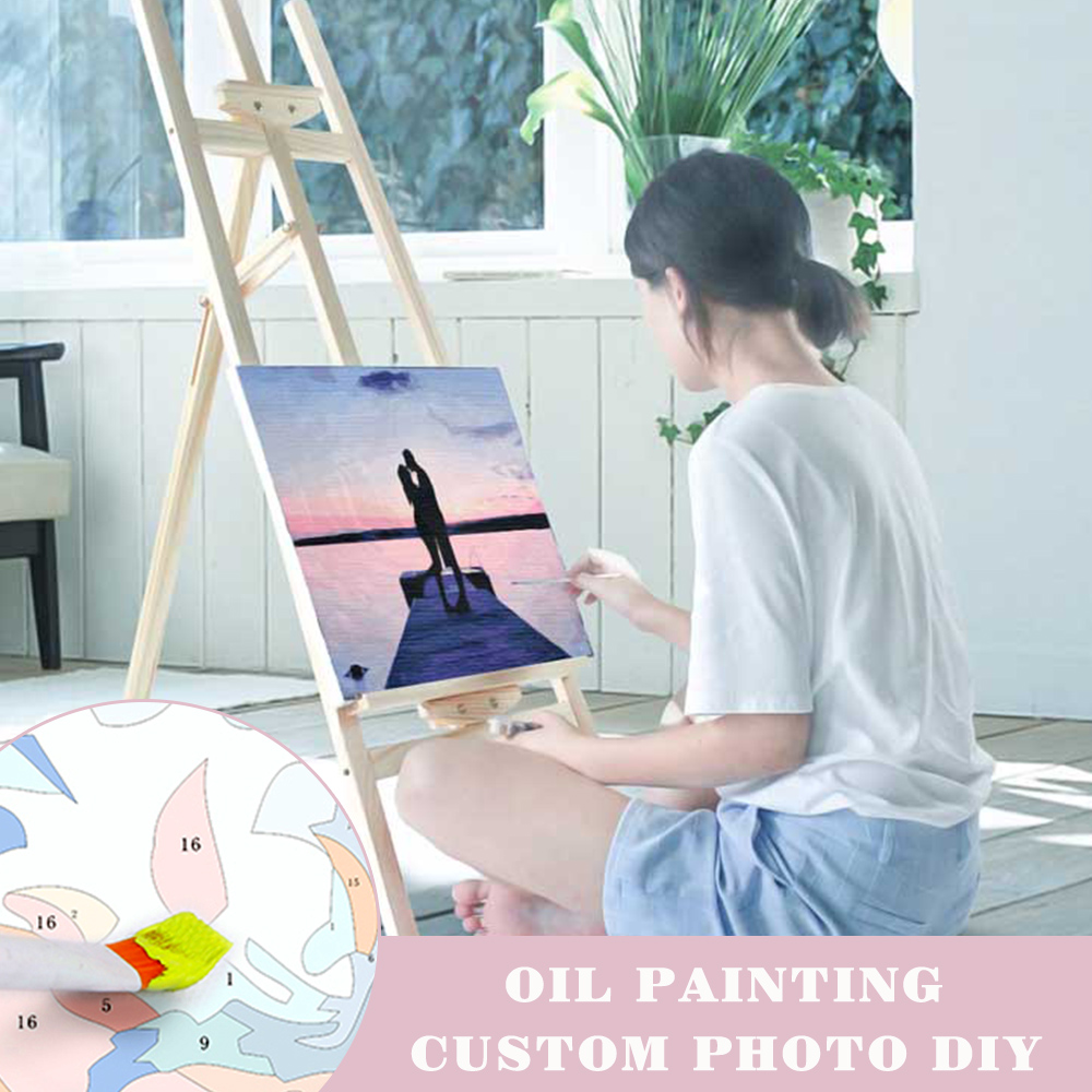 AZQSD Canvas Art Wall-Pictures Oil-Painting Home-Decor Frameless Colorful Acrylic Gift