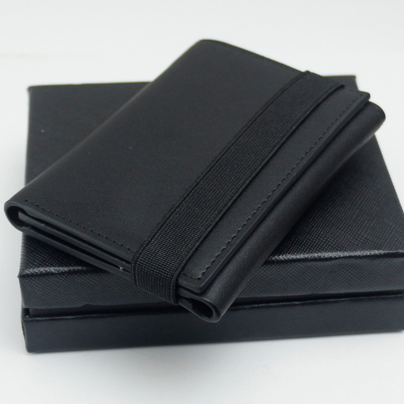 Gents Wallet//Notecase Smooth Black Sheep Nappa Leather with Security Chain.
