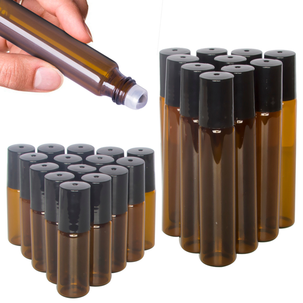 5/10ml Portable Amber Glass Roller Rollerball Essential Oil Bottles Mist Container Travel Refillable Bottle Transparent Brown(China)