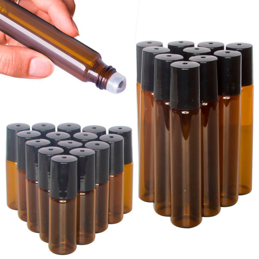 5/10 мл Портативный Янтарный стеклянный ролик роллер бутылок с эфирными маслами контейнер для распыления дорожная бутылка для многоразового использования прозрачный коричневый