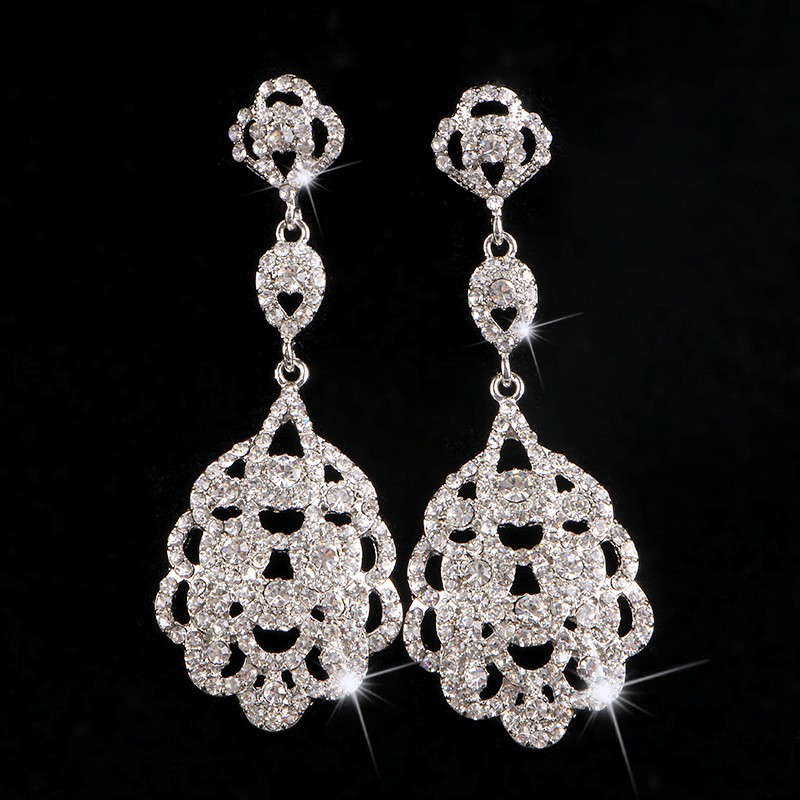 925 sterling silver vintage long earrings for women 585 gold plated Austrian crystal jewelry brincos de festa wedding bridal accessories gifts HB025 (1)