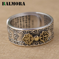BALMORA 990 Pure Silver Buddhistic Six Words Mantra Rings For Women Men Lovers Gift Thai Silver