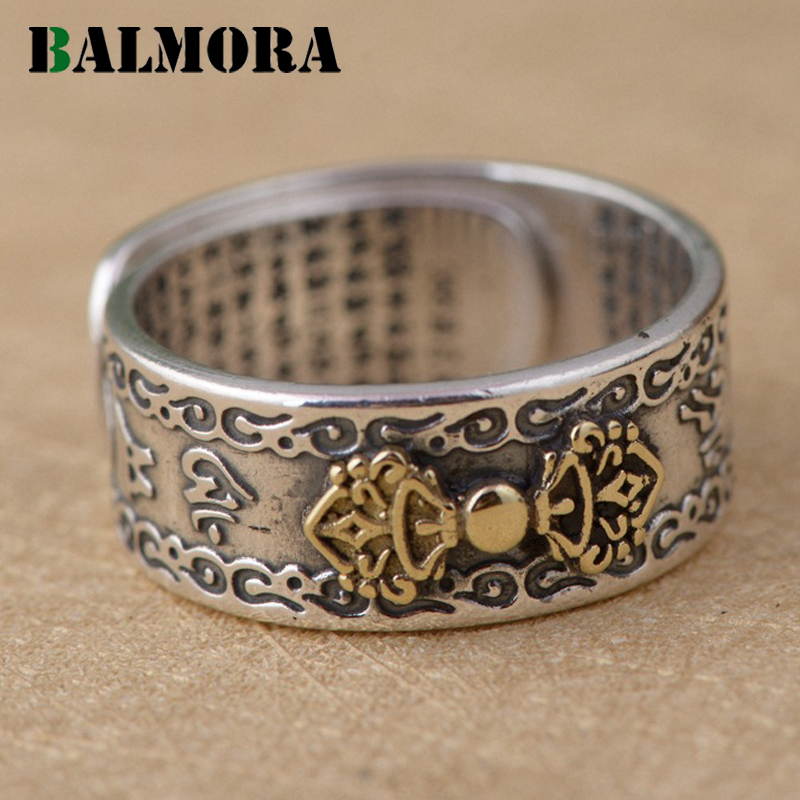 BALMORA 990 Pure Silver Buddhistic Six Words' Mantra Rings for Women Men Lovers Gift Thai Silver Ring Jewelry Anillo SY22039 16mm round sandalwood thai silver beads bracelet for women buddhism six letter scripture women men fine silver 990 jewelry sb69