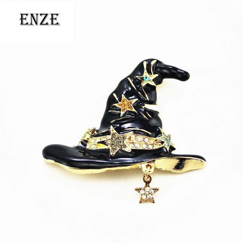 2016Free shipping fashionable woman alloy drop glaze enamel Halloween hat star temperament of clothing apparel joker brooch sets